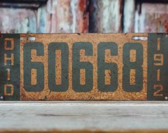 Antique 1912 Ohio license plate