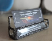 Beveled glass business card holder, stained glass bevels, glass business card holder, decorative glass business card holder, business cards