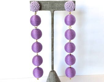 Bon Drop Earrings // 6 tier with a beaded stud top //Light Purple