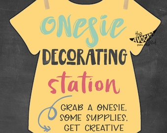 Onesie Decorating Baby Shower Activity 8x10 Printable   DIY Printing  INSTANT DOWNLOAD