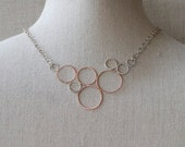 Silver Circle Necklace Copper Hammered Bubble