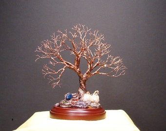 Wire Tree Of Life sculpture, copper Grand Old Tree, Quartz Crystal Cluster plus, wood base, handmade miniature tree art, Christmas gift, 6""