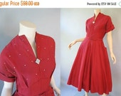 SALE... Vintage Red Rhinestone Cupcake Dress - 1950s Full Skirt with Belt - Holiday Dress