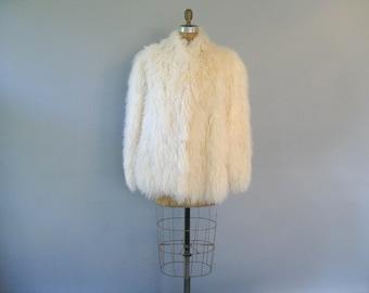 Vintage Mongolian Lamb Fur Coat - Tibetan Jacket - Wedding Bridal Coat