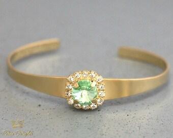 Mint Bracelet,Mint Swarovski Silver Cuff Bracelet,Swarovski Mint Bracelet,Bridesmaids Mint Bracelet,Bridal Mint Bracelet, Mint Cuff Bracelet