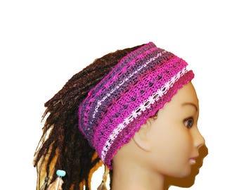 Pink, purple knitted adult headband tube bohemian.