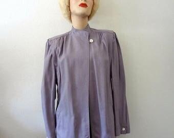 ON SALE 1980s Silk Jacket / avant garde lilac blazer / retro swing coat