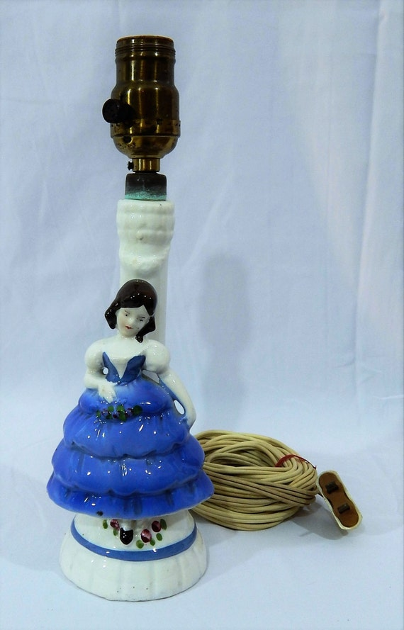 SUPERB----Hand Painted Porcelain Doll Lamp--Bo Peep Lamp Blue Dress Made in Germany