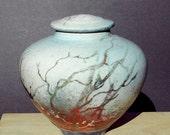 Winter Woods Raku Urn, Handmade USA, Copper Trees, Decorative Landscape Memorial Jar Home and Living Bath and Kitchen Decor Crematory Jar