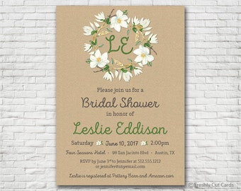 Magnolia Flower Bridal Shower Invitation - Printable or Printed (w/ FREE Envelopes)