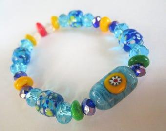 Circus Rainbow Lampwork Morretti Glass Bead Stretch Bracelet by Shawn's Beads