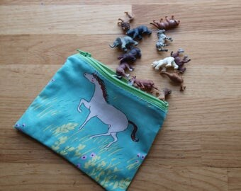 Horse and Flowers Zipper Pouch