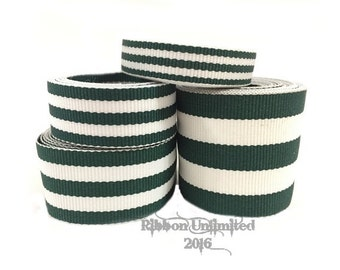 10 Yds WHOLESALE Hunter Green TAFFY Stripes grosgrain ribbon LOW Shipping Cost