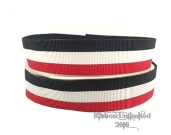 10 Yds WHOLESALE 7/8 Inch BLacK/White/Red TAFFY Stripes grosgrain ribbon LOW Shipping Cost