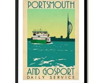 Gosport Ferry Portsmouth Harbour Travel Art Print