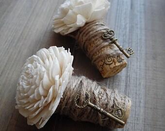 Ships in 3 Weeks  ~~~ Rustic Wine Cork Boutonniere, Sola Flower, Bronze Key, Twine & Burlap