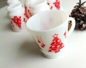 Hazel Atlas Milk Glass Christmas Mugs Set of 6, Vintage Holiday Dinnerware,  Christmas Tree Tea Cups, White and Red Mugs, Egg Nog Cup Set