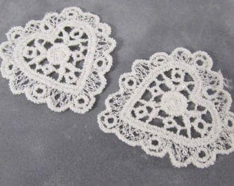 2 White or Ivory 45mm Venise Lace Hearts - Choose Your Color