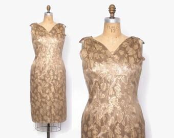 Vintage 60s Cocktail DRESS / 1960s Metallic Gold Floral Brocade Party Dress L