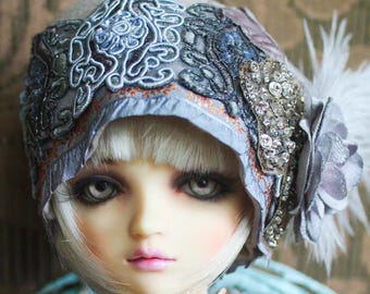 Sweet Grey Taupe Felt Flapper Hat with Velvet Rose For Ball Jointed Dolls & Blythe