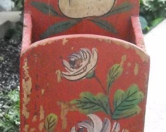 Hand Painted Wood  Box - Wall Hanging