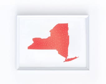 Printable New York Map - Digital Download, Eight by Ten Inches, Geometric NY, Dark Pink, Red, Coral, White, Illustration, State, Home, Shape