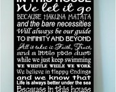 ON SALE Beautiful DISNEY famous movie quotes wooden subway art 8x12 sign -In this house we let it go because hakuna matata and the....
