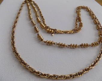 Vintage necklace, signed D'Orlan, chunky golden chains, double strand necklace, jewelry