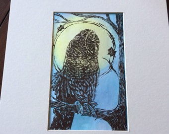 Owl in a tree on a full Moon night hand carved and hand printed Lino Print by Gina Stark