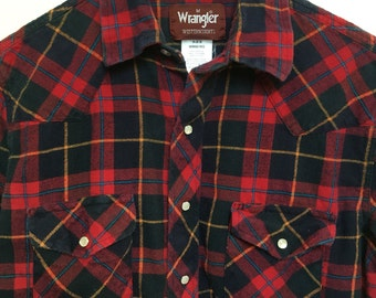 Vintage Wrangler red plaid western flannel, 80s vtg red black plaid flannel, 1980s western shirt, grunge flannel, Rockabilly retro, men M 42