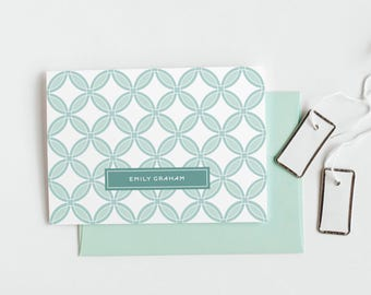 Personalized Note Cards, Women's Folded Stationery // ORANGE BLOSSOM