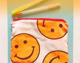 Smiley face emoji I heart the 90s cute pencil case planner supply or cosmetic bag