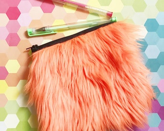 neon orange furry clutch cosmetic bag pouch upcycled rainbow zipper topped bag