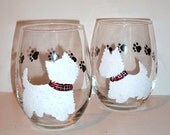 White West Highland Terrier With Plaid Collars Silhouette Set of 2 - 21 oz. Stemless Wine Glasses Hand Painted Wine Glassware Westie Gift