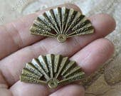 10 pcs Charms Fan Pendant Antique bronze Tone 2 Sided, Flower Pendant Charms Fingdings pendant,jewelry pendant finding