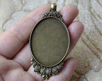 5pcs Antique bronze flower oval Cabochon pendant tray (Cabochon size 30x40mm),bezel charm findings,lacework findings,cabochon blank finding