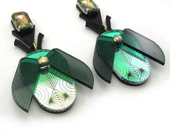Jeweled BEETLE Statement Earrings - Bug earrings, iridescent beetle, laser cut earrings, jeweled earrings, jeweled beetle, oversized bug