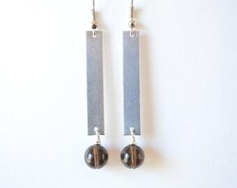 Silver Bar Earrings With Smokey Quartz Beads