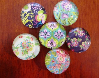 PRETTY BLUE and GREEN Floral Magnets Set of 6 Glass Bubble Magnets for Office or Kitchen