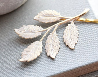 White Branch Bobby Pin Shabby Patina Gold Brass Leaf Leaves Nature Bobbies Grecian Hair Clips Bridesmaids Gift Forest Fairy Woodland Bridal