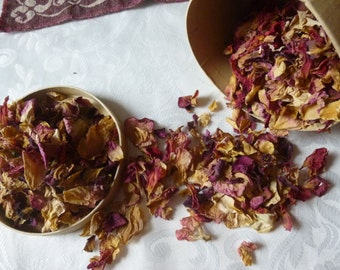 Real Dried Rose Petals Red, Pink, Cream 2 cups
