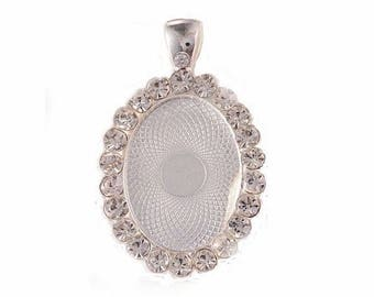 25x18mm Bright Silver Rhinestone Cabochon or Cameo Setting with Bail a great photo charm for weddings 959x