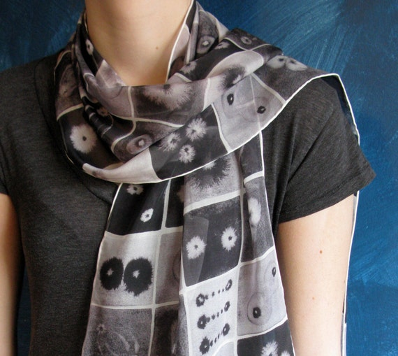 Black and White Mitosis Silk Scarf