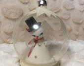 HOLIDAY 25% SALE Vintage German Glass Diorama Ornament with Spun Cotton Snowman Pipe Cleaner Christmas
