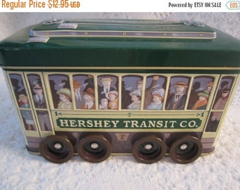 15% SALE Vintage HERSHEY TROLLEY Truck Tin Container Americana Advertising Green Yellow Collectible