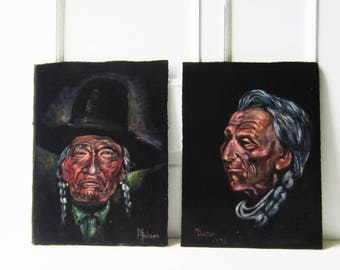 "Pair Vintage Native American Portrait Black Velvet Painting 1978 ""Plain Feather"" Lived to be 100 and Chief Plenty Coups - M Gibson"