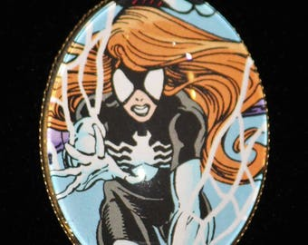 Vintage Marvel The Avengers Spider Woman Comic Book Pendant Necklace