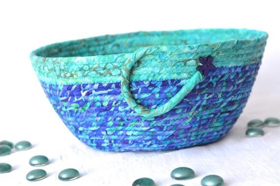 Turquoise Bread Basket, Handmade Napkin Holder, Hand Coiled Knitting Basket, Purple Fabric Basket, Modern Chic Fabric Bowl