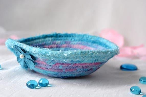 Turquoise Batik Decoration, Blue Shower Gift Basket, Handmade Ring Holder Basket,  Cute Gift Basket, Cute Desk Accessory, Candy Bowl