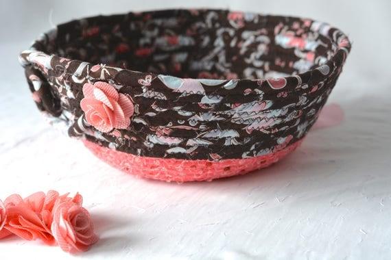 Decorative Peach Basket, Handmade Gift Basket, Modern Coral Picnic Basket, Fruit Bowl, Textile Art Basket, Bread Basket